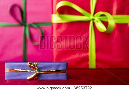 Blue gift with golden bowknot