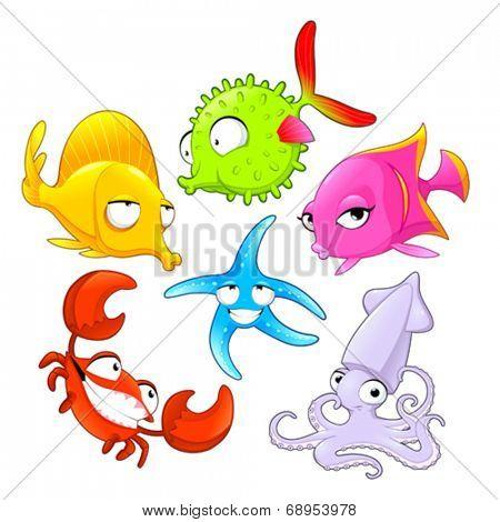 Funny sea animals. Vector cartoon isolated characters.