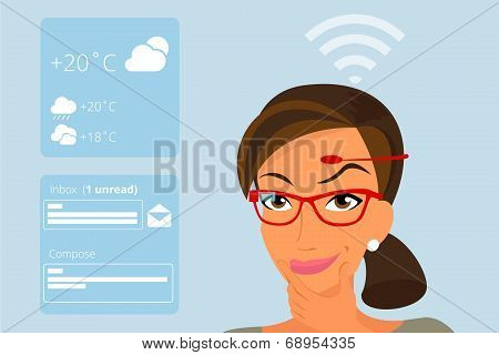 Woman using head-mounted hardware technologies