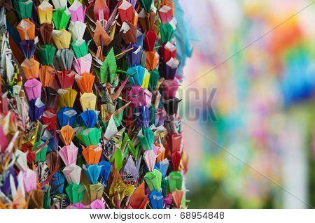 Japan, Hiroshima, Peace Memorial Park, colorful paper cranes, close-up