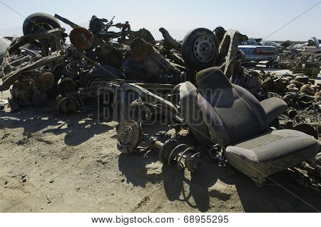 Car parts in junkyard