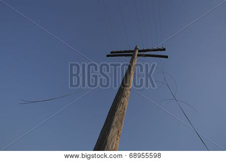 Telephone with cut cables, low angle view
