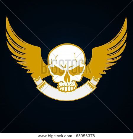 Illustration of a skull with emblem and wings - decorative element