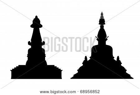 Buddhist Stupa Silhouettes Set 1