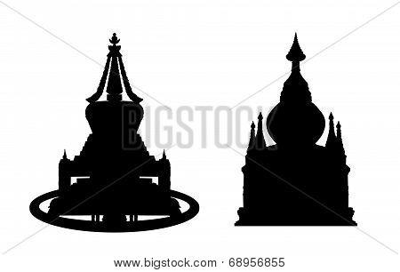 Buddhist Stupa Silhouettes Set 2