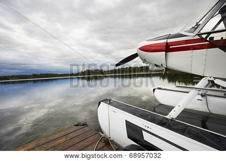 USA, Alaska, sea plane tied to pier, close up