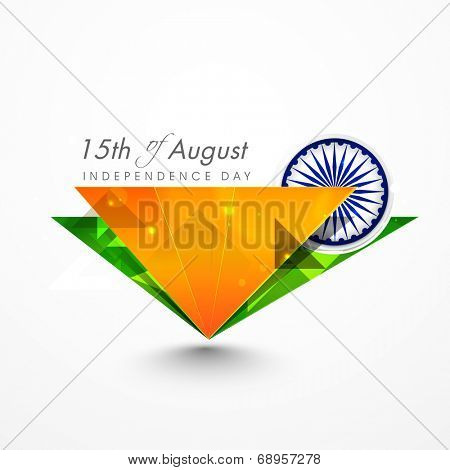 Triangles in Indian tricolors with Asoka Wheel on the occasion of 15th of August, Indian Independence Day celebrations.