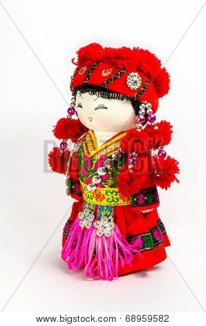 Chinese Souvenir Dolls In National Clothes