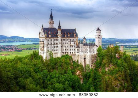 Neuschwanstein Castle in the Bavarian Alps, Germany