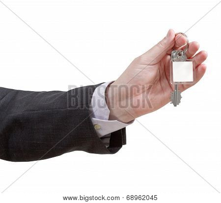 Male Hand With Blank Door Key Ring Close Up