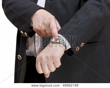 Businessman Show Exact Time On Wristwatch
