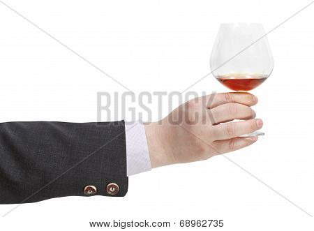 Toast With Brandy Glass In Businessman Hand