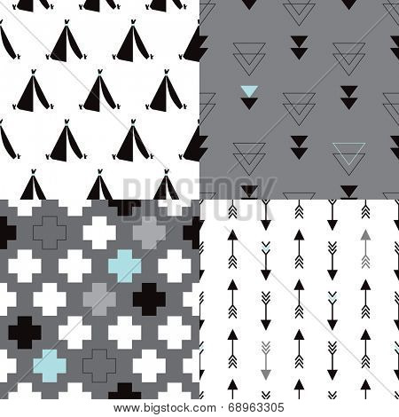 Seamless geometric tribal teepee arrow and plus sign abstract background pattern for fashion in vector