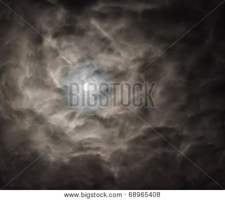Full Moon Surrounded By Ominous Clouds