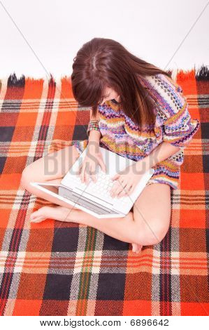 Beautiful Brown Teen Girl With Laptop