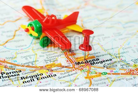 Modena  Italy Map Airplane