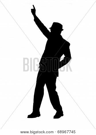 Silhouette of a Man Pointing