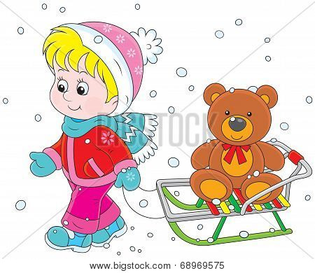 Child with a sled