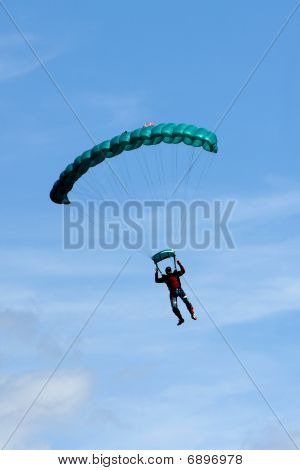 Extreem Sports. Parachuting Under A Blue Sky