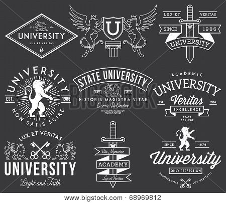 College and University badges white