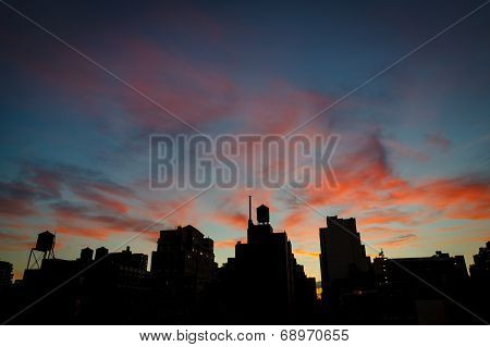 Blue hour over Chelsea rooftops and water towers, Manhattan, NYC