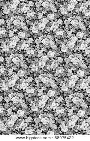 Gray Rose Fabric Background, Fragment Of Colorful Retro Tapestry Textile Pattern With Floral Ornamen
