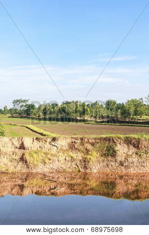 Soil Erosion From Water And Blue Sky