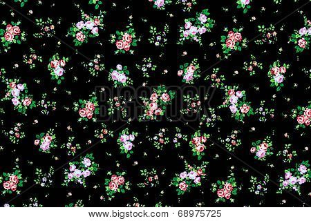 Fabric Background, Fragment Of Colorful Retro Tapestry Textile Pattern With Floral Ornament Useful A