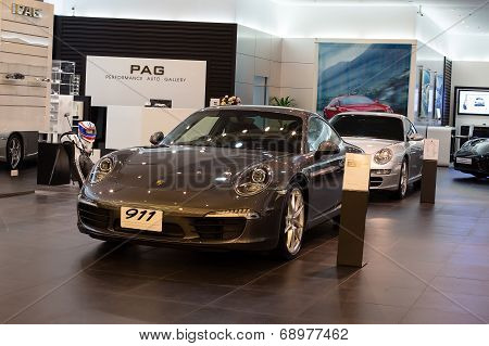 Porsche 911 Carrera S Car On Display At The Siam Paragon Mall In Bangkok