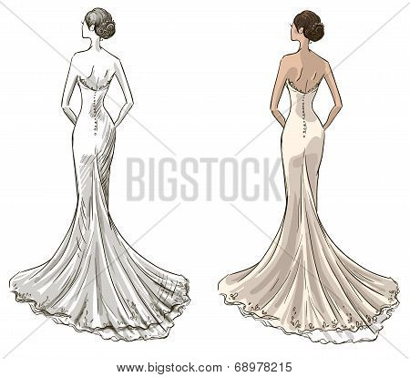 Bride. Beautiful young girl in a wedding dress. Long dress with a tail.