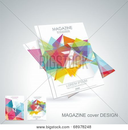 Magazine Cover With Pattern Of Geometric Shapes, Texture With Flow Of Spectrum Effect.
