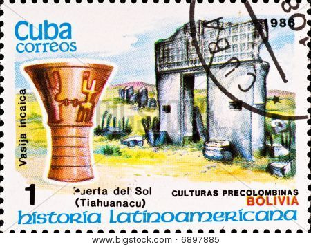 Postage Stamp Shows Example Tiahuanacu Culture