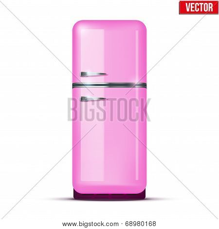 Classic Pink Fridge Refrigerator. Vector Isolated On White Background