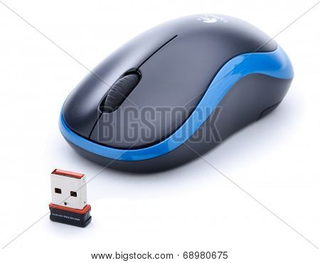 Ankara, Turkey - May 28, 2013: Wireless computer mouse manufactured by Logitech isolated on white background.