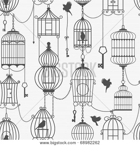 Vintage birds and birdcages collection. Seamless pattern.