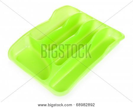 Green plastic cutlery tray isolated on white