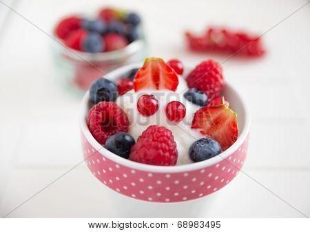 Frozen Yogurt with fresh berries