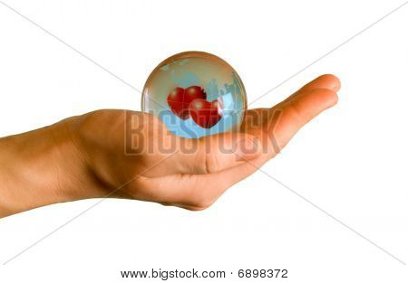 Earth With Two Hearts In Hand