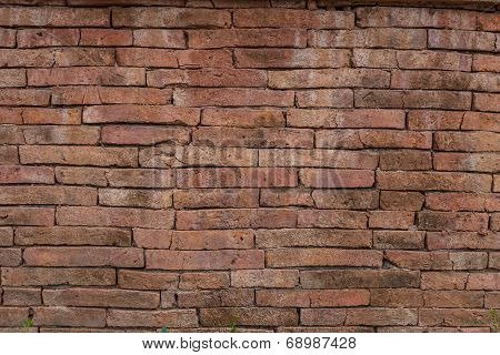 Old Dark Stucco Brown And Painted Red Brick Wall Background