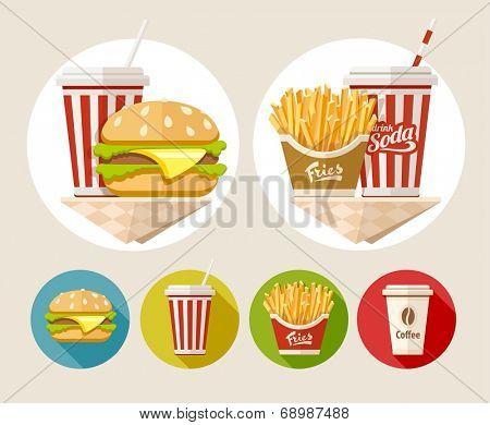 Hamburger, french fries and soda drink in paper cup flat icons set. Eps10 vector illustration