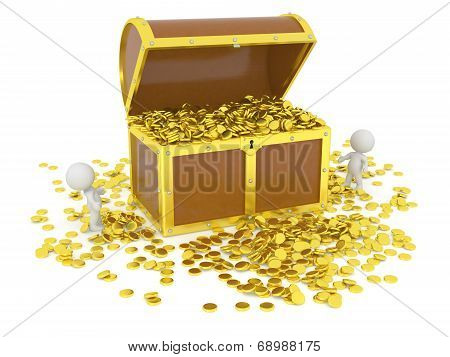Huge 3D Treasure Chest with Gold Coins and 3D Characters