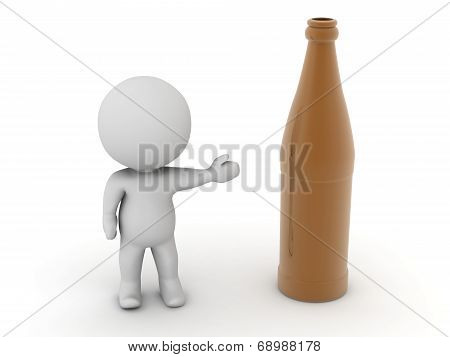 3D Character showing dark beer bottle