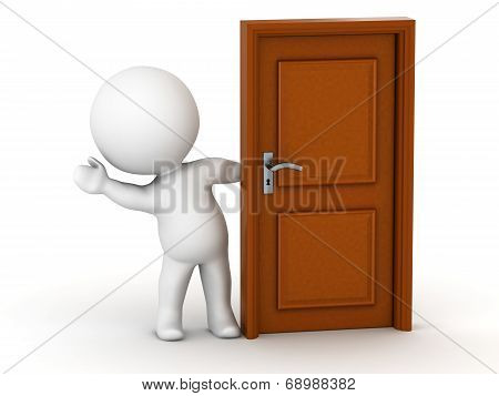 3D Man waving from behind door