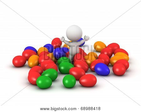 3D Character with many colorful Easter eggs