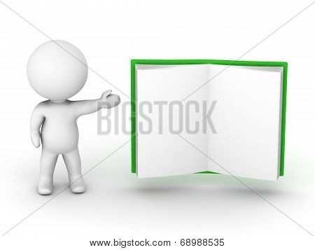 3D Character showing an open book