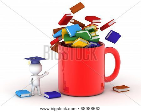 3D Character wearing graduation cap showing cup filled with books