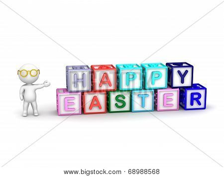 3D Character showing boxes spelling Happy Easter