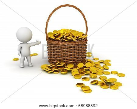 3D Character Showing Wicker Basket with Gold Coins