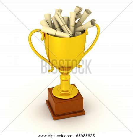 3D Gold Trophy filled with diplomas