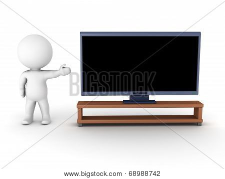 3D character showing generic HDTV